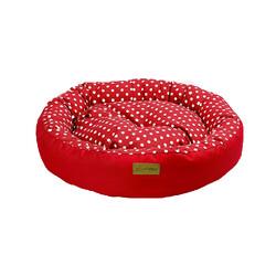 Dubex - Dubex Tarte Kırmızı Benekli Yuvarlak Kedi Köpek Yatağı